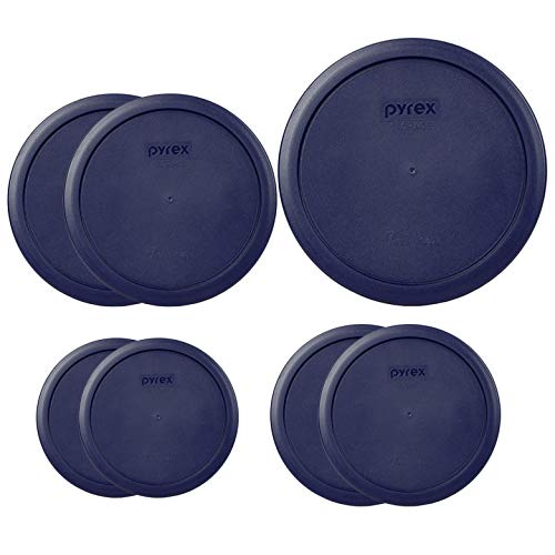 Pyrex Round Storage Cover, Blue Set Replacement Lids for Glass Bowl, 1 (6/7) Cup Blue Lid, 2 (4) Cup Blue Lids, 2 (2) Cup Blue Lids, 2(1) Cup Blue Lids, 7 Lids Total