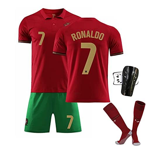 YQY 2021 Portugal Camisetas de fútbol Jerseys de fútbol Inicio Ronaldo Número 7 Adultos Kit de fútbol para niños Traje de Entrenamiento,F,20#