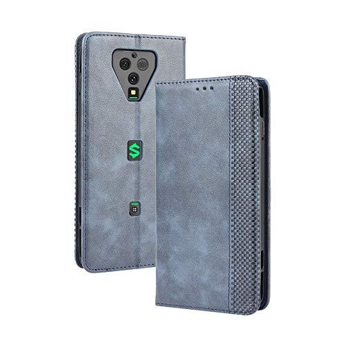 LAGUI Kompatible für Xiaomi Black Shark 3 Pro Hülle, Leder Flip Hülle Schutzhülle für Handy mit Kartenfach Stand & Magnet Funktion als Brieftasche, Blau