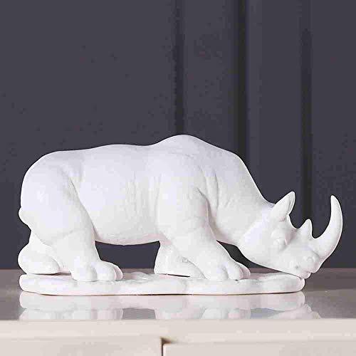 Escultura Decorativa Salon,Estatuas Para La Oficina Esculturas De Rinoceronte De Cerámica Blanca Creativa Estatuilla De Animales Únicos Y Modernos Obra De Arte De Porcelana China Coleccionables Par