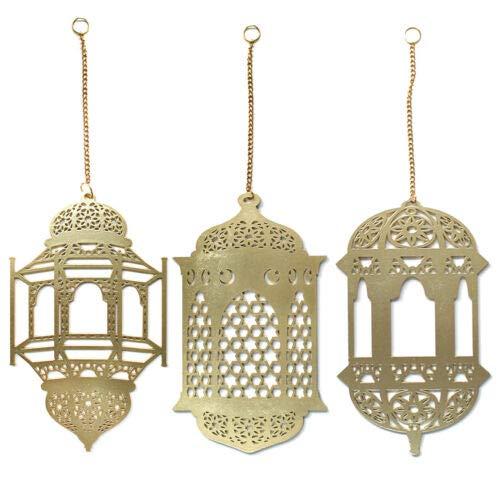 3 Stücke Islam Ramadan Holz Hängend Zeichen Laterne Anhänger Ornament Wand DIY Dekoration für Eid Ramadan