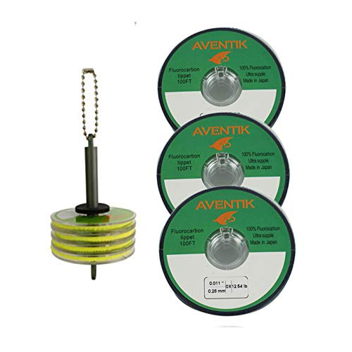 Aventik 3pack/Lot 100% Fluorocarbon Fly Fishing Tippet Line Fast Sinking Invisible Fly Fishing Bass Fishing Carp Fishing Saltwater Fishing Line 30 Meter/Spool, 0X-6X(0X+1x+2X+3X+Tippet Holder)