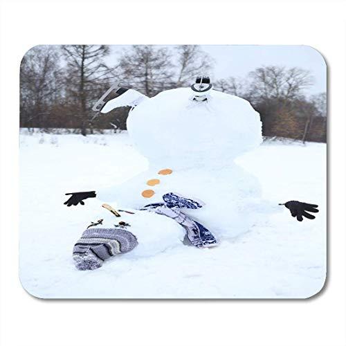 Alfombrillas de ratón Botones Blanco Otoño Al revés Muñeco de nieve con gorro gris Bufanda y patines en el día de invierno Botas Alfombrilla de ratón de Navidad para cuadernos, computadoras de escrito