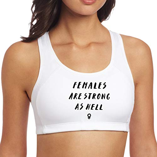 Females are Strong as Hell Women's Yoga Sports Bra Gym Crop Tank Top Fitness Chest Vest White