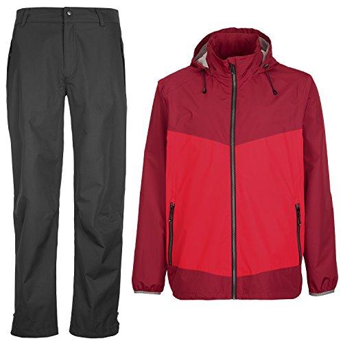 Killtec Herren Outdoorbekleidung rot/schwarz Gr. 3XL wasserdicht Winddicht atmungsaktiv Regenbekleidung