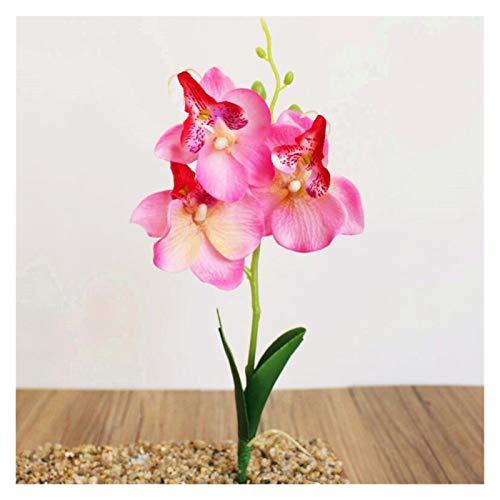 JUNQIAOMY Flores artificiales artificiales de flores falsas Phalaenopsis Mini orquídea mariposa decoración del hogar y jardín (color rosa