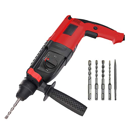SDS-Plus Rotary Hammer Drill, 800W Light Electric Demolition Hammer Concrete Breaker, 3 Function (Drill, Hammer, Pick) and Adjustable Grip Handle, Include 4 Drill Bits and Point Chisel, with Case
