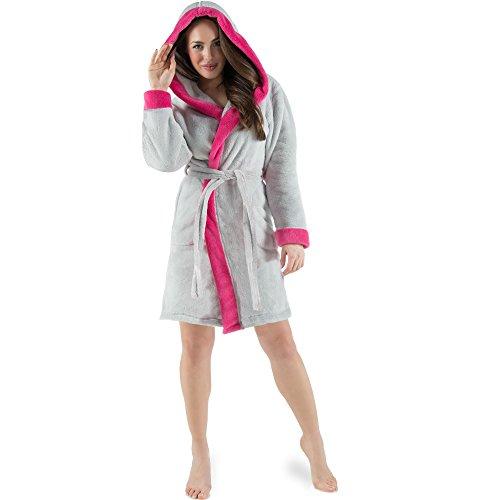 CelinaTex Kos Damen Bademantel mit Kapuze S grau pink Sherpa-Fleece Saunamantel kurz Morgenmantel Kapuzen-Mantel