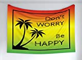 Ambesonne Rasta Tapestry, Dont Worry Be Happy Music Words of Iconic Singer Palms Ombre Colors, Fabric Wall Hanging Decor for Bedroom Living Room Dorm, 60' X 40', Lime Green