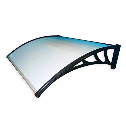 Marquesina para exteriores fabricada en policarbonato compacto transparente. Soportes de plástico. Espesor: 3 mm
