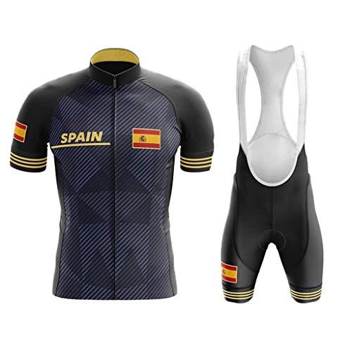 WLYX España Conjunto Ropa Traje Ciclismo Hombre para Verano, Maillot Ciclismo Hombre+Culotte Ciclismo Culote Bicicleta Pro Equipo Bicicleta Jersey (1,M)