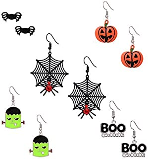 Halloween Earrings Set 5 Pairs Stud Drop Earrings Spider Web Pumpkin Frankenstein Boo Dangle Stud Earring Set For Women Girls
