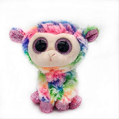 ASDFF Juguete de Peluche Creativo Ojos Grandes Juguete de Peluche Ojos Grandes Lindo apaciguar muñeca Animal de la Historieta Panda Unicornio Mapache muñeca de Peluche 15 cm Color Oveja