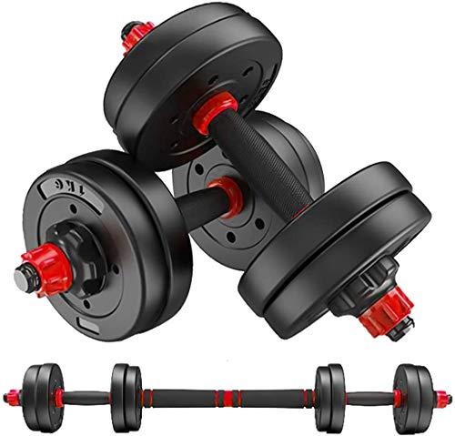 MOJEER ダンベル 可変式【最新進化版・3in1】10kg 20kg 30kg 40kg 2個セット バーベルにもなる ダンベル 無臭素材 静音XK (5kg×2個セット/red)