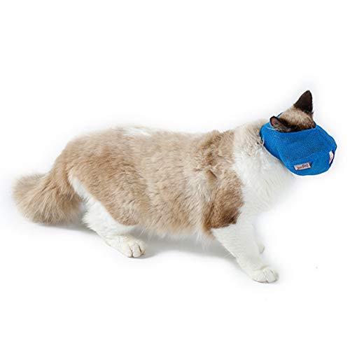 Hemore Multifunktionaler Maulkorb für Katzen, atmungsaktiv, Maulkorb für Haustiere, verhindert Beißen und Kauen, Größe L, Blau