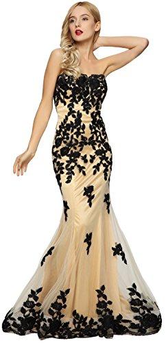 Meier Women's Strapless Lace Bead Formal Evening Gown Black XS
