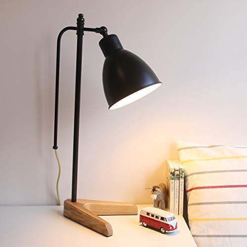 Lampes de table en fer vintage, éclairage de lecture en bois massif à LED Lampe de table moderne minimaliste salon chambre bureau lumière rétro étudiant bureau lumières (Design : B)