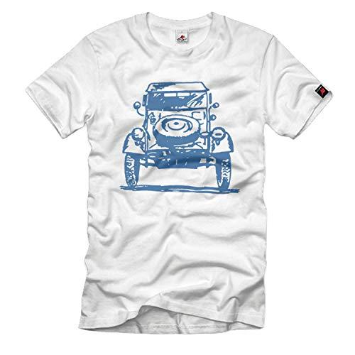 Copytec Kübel WW2 Kübelwagen Typ82 Oldtimer kdf Wagen Auto Body T-Shirt # 33048, Taille:Hommes XL, Couleur:Blanc