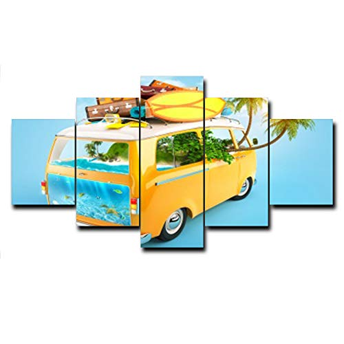 N / A Calligraphy Painting On The Wall Art Canvas Tropical Car Poster and Prints Family Living Room Decoration Frameless 60x140cm