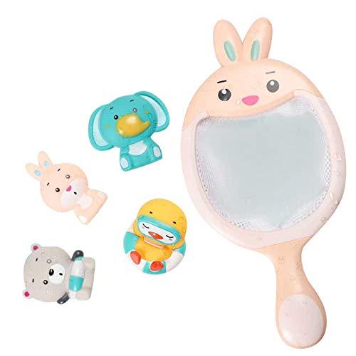 WWWL Juguetes bañera Juguetes de baño para bebés Red Fishing Set Floating Soft Rubber Pinch Animals Tina de Agua baño baño Juguete para niños niños Regalo Rabbit