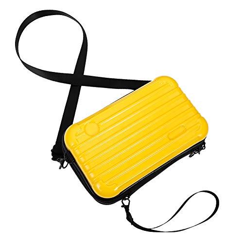 dgaf&bae Umhängetasche Handy Handschlaufe Klein Tasche Mode Hardcase Kosmetiktaschen Harte Schale Kosmetiktasche ReißVerschluss Fall Kunststoff Hartschale(Gelb)