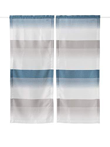 N\A APLUS1 Tendine per Finestra con Occhielli Tendine Jacquard per Soggiorno e Camera da Letto Tenda Chloe 2 Pannelle (Blu, 60x240)
