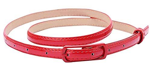 Selighting Cinturones para Mujeres Cuero de la PU Ajustable, Correa Cinturón Estrecho Verano Cintura de Color Sólido para Jeans Vestidos Fashion Skinny Minimalismo (Rojo)