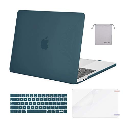 MOSISO Compatible with MacBook Pro 13 inch Case 2016-2020 Release A2338 M1 A2289 A2251 A2159 A1989 A1706 A1708, Plastic Hard Shell Case&Keyboard Cover Skin&Screen Protector&Storage Bag, Deep Teal