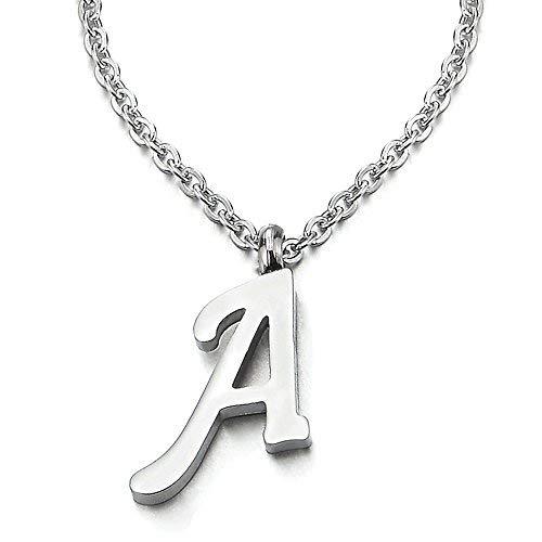 COOLSTEELANDBEYOND Nombre Inicial Letra del Alfabeto A Colgante, Collar de Mujer Hombre, Acero Inoxidable,50cm Cadena Cuerda