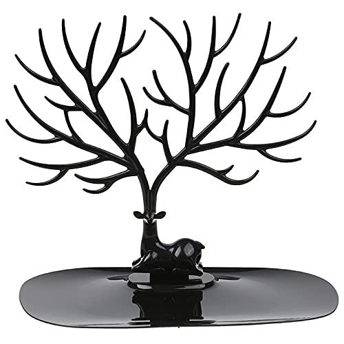 Estante de joyería con bandeja - Soporte de exhibición de árbol de ciervo, soporte organizador - Collares colgantes anillos, pendientes y relojes (B)