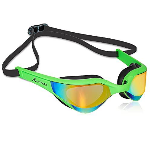 arteesol Gafas de Natación, Antiniebla, UV Protegida Gafas sin Fugas con Correa de Silicona Ajustable para Adultos y Adolescentes con Clip de Nariz Enchufe de oído (Black+Blue, 2 pcs)