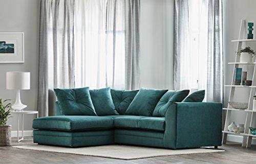 Roxie Plush Velvet 3 Seater Fabric Corner Sofa Teal Small Chaise (Left Hand Facing)