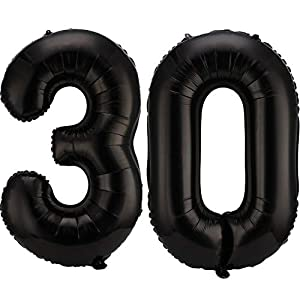 42 Inch 30 Number Balloons Jumbo 30 Foil Balloons Giant 30 Number Balloons for 30th Birthday Party Decorations and 30th Anniversary Event (Black)