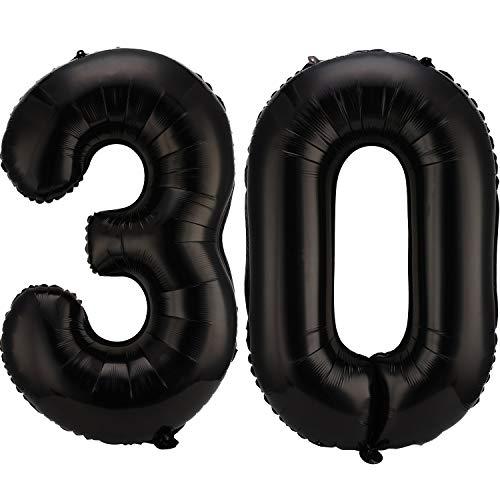 Gejoy 42 Zoll 30 Nummer Luftballons Jumbo 30 Folie Luftballons Riesige 30 Nummer Luftballons für 30 Jahre Geburtstag Party Dekoration und 30. Jubiläum (Schwarz)
