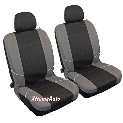 Par de fundas para asientos de coche de la parte delantera, color negro y gris,...