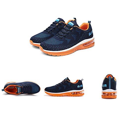 Zapatillas de Deporte Hombre Mujer Running Bambas Ligero Zapatos para Correr Respirable Calzado Deportivo Andar Crossfit Sneakers Gimnasio Moda Casuales Fitness Outdoor Blueorange01 42