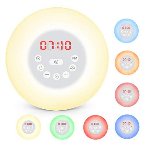 ATPWONZ Lichtwecker, Wake Up Licht mit FM Radio Digitaluhr Licht Tageslichtwecker 7 Farben mit Sunrise Sunset, 6 Nature Sounds Snooze Funktion Touch Control LED Nachtlicht für Geschenk