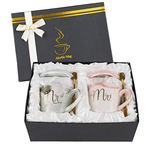 Homeries Mr. and Mrs. Couple Coffee Mugs – Engagement, Wedding, Bridal Shower Gifts for Bride & Groom - Dishwasher Safe - Anniversary Husband Wife Coffee Cups for Him & Her (12 Ounce)