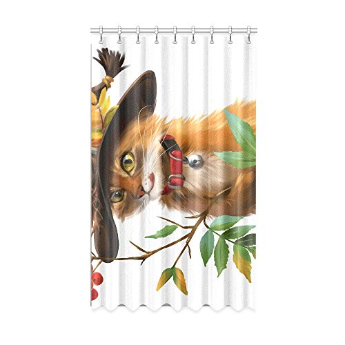 Rideaux de fenêtre simples un chat une branche de cendres de montagne et d'oiseaux cardinaux rideaux de fenêtre de bébé 50 x 84 pouces une pièce pour patio porte en verre coulissante / chambre à couc