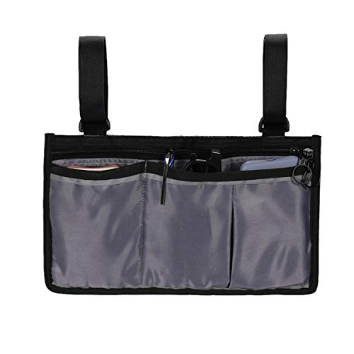 DOITOOL Leichte Rollstuhl-Seitentasche mit Beuteln Reiserollstuhl-Tasche für die Armlehne Rollstuhl-Aufhängetasche Organizer für Elektrorollstühle Mobilitätsroller Walker-Zubehör (grau)
