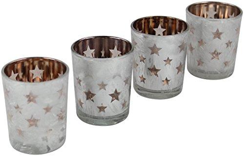 Decoline Teelicht-Halter 4 Stück aus Glas Kupfer