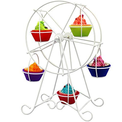 nuluxi Alzate per Dolci di Ruota Panoramica Supporto Espositore per Torte Alzata per Cupcake Rotazione Alzata Torta Muffin Dessert Decorazione per Matrimonio, Compleanno, Festival o Festa- 8 Posti