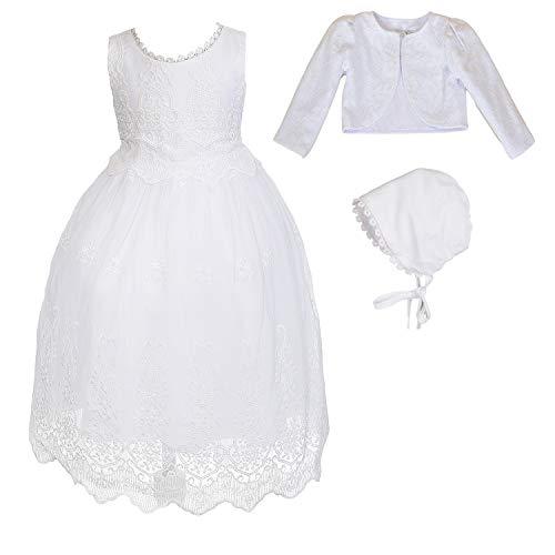 Cinda Robe Blanche de Baptême de Bébé Fille et Chapeau avec Bolero 6-9 Mois