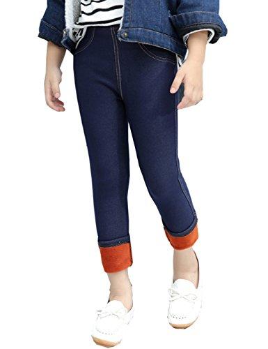 Cresay Kids Toddlers Girls Fleece Lined Jeans Legging Warm Pants-cowboynavy-160