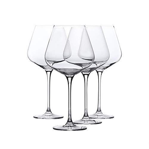 Whole Housewares Red Wine Glass - Crystal Glass - Lead Free - Wine Glass Set of 4 (29 Ounce)