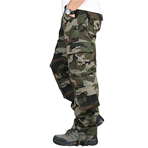 CFWL Monos De Camuflaje Pantalones De Hombre Pantalones Casuales Al Aire Libre Pantalones De Pierna Recta para Hombre Pantalones De Trabajo Ajustados Pantalones De Trekking Pantalones Verde 36