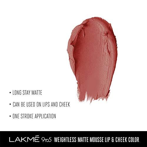 Lakme 9 to 5 Weightless Mousse Lip & Cheek Color, Blush Velvet, 9 g
