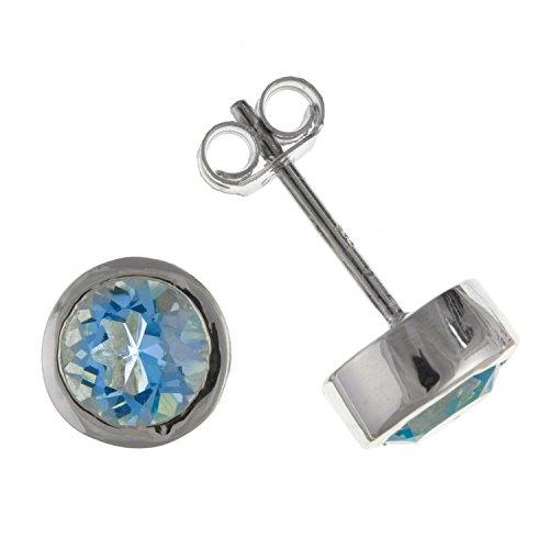 8mm taglio rotondo scintillante vero topazio blu orecchini/orecchini–925argento Sterling–Scatola regalo in omaggio/sacchetto regalo