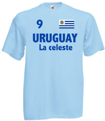 world-of-shirt Herren T-Shirt Uruguay La celeste Trikot Fan Shirt Nr.9|hb-l