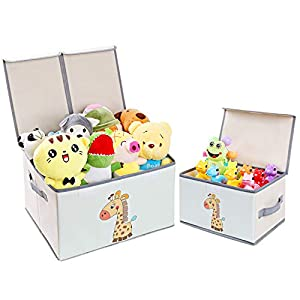 DIMJ Juego de 2 Cajas de Almacenaje Juguetes Plegable, Caja Organizadora de Juguetes con Tapa y Asa, Caja de Tela Patrón Lindo Jirafa para Niños (Gris)